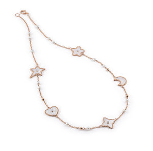 Yellow gold necklace mother of pearl, pearls and diamonds