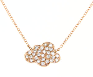 18K rose gold necklace with a diamond cloud