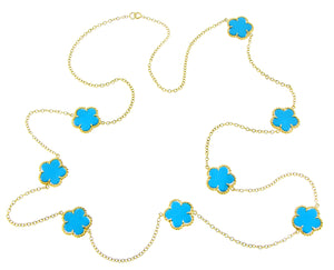 Yellow gold necklace with turquois clovers