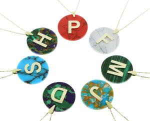 Colored stone letter pendant