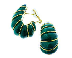 Malachite and yellow gold earrings