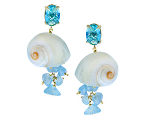 Shell earrings with aquamarines