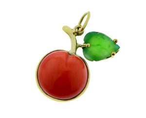 Apple pendant of coral and jade