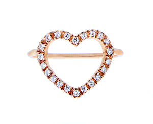Rose gold ring with an open diamond heart