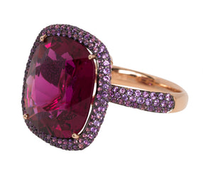 Rubellite ring with purple sapphires