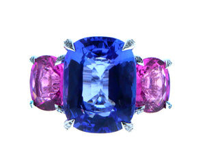 Tanzanite and pink tourmaline ring