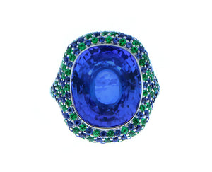 White gold ring tanzanite, tsavorites and sapphires