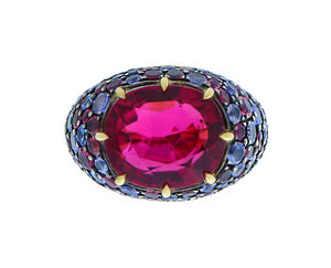 Ring with tourmaline and tanzanites