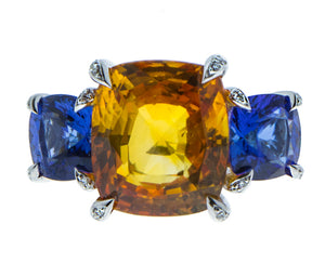 Yellow sapphire and tanzanite ring