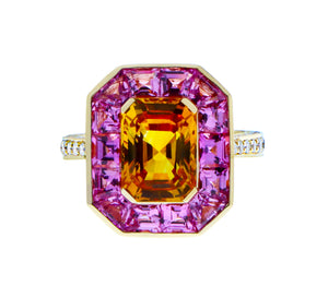 Yellow gold ring with diamonds, yellow sapphire and pink sapphire
