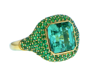 Yellow gold ring green tourmaline with tsavorite