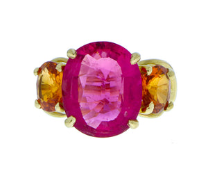 Yellow gold ring with rubellite and spessartite