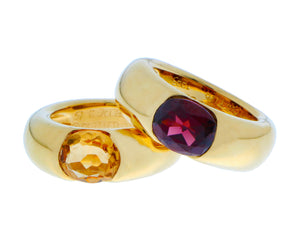 Yellow gold rings with citrine and garnet
