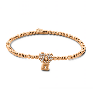 Rose gold stretch bracelet with heart and lock