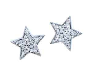 White gold and diamond star ear studs