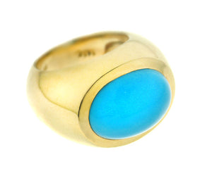Yellow gold ring with turquoise