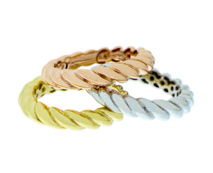 Yellow, rose and white gold twisted rings
