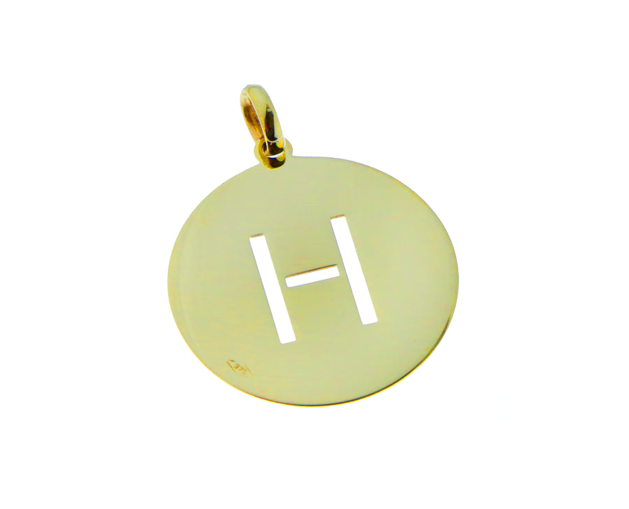Yellow gold pendant letter