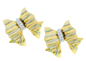 Yellow gold and diamond bow tie earrings