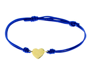 Rope bracelet with yellow gold heart