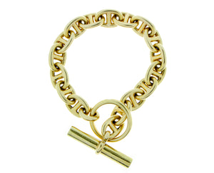 Yellow gold link bracelet with a toggle closure