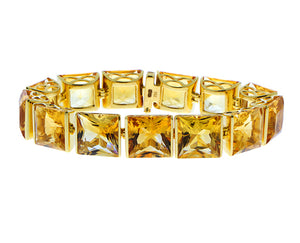 Yellow gold bracelet with square cut citrines