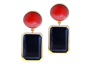Yellow gold earrings with black spinel and cabochon cut coral