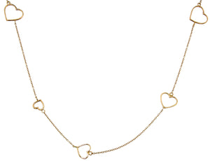 18K necklace with hearts in different sizes