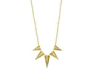 Yellow gold necklace with 5 triangles set with diamonds