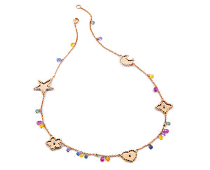 Rose gold necklace with pink gold heart, flower, alhambra, moon and star, and briolette cut gemstones