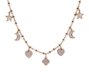 Rose gold necklace with 7 pendants, pave set with diamonds