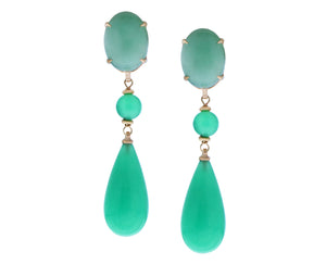 Rose gold earrings with aventurine and jade