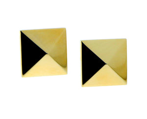 Yellow gold square earclips
