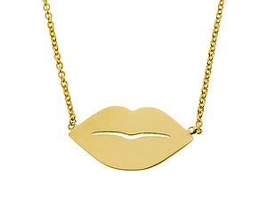 Yellow gold necklace with lips
