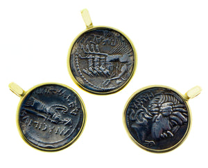 Yellow gold coin pendants