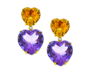Heart shaped gemstone earclips