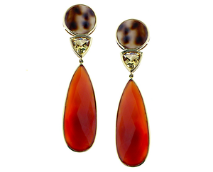 Carnelian drop earrings with shell and citrine
