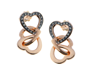 Champagne diamond heart earrings