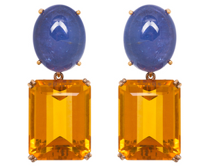Tanzanite earrings with emerald cut citrine