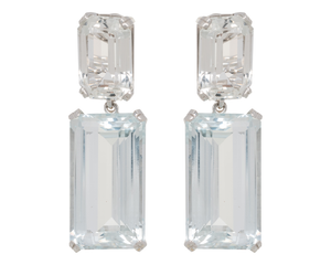 White topaz earrings with aquamarine