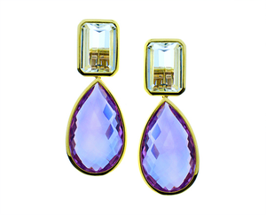 Topaz earrings with amethyst drops