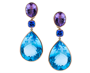 Amethyst earrings with tanzanite and blue topaz