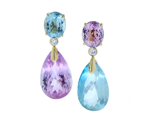 Earrings with kunzite, aquamarine and diamonds