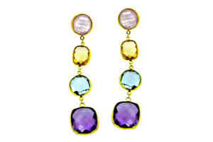 Earrings with rose quartz, citrine, amethyst and blue topaz
