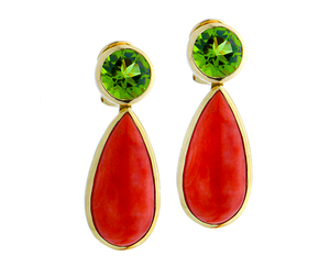 Peridot ear rings with coral pendant