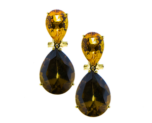 Citrine earrings with zircon