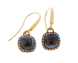 Smokey quartz earrings with champagne diamonds