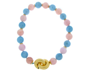 Necklace with pink and blue beryl beads