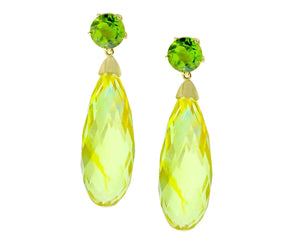 Yellow gold earrings with peridots and amber
