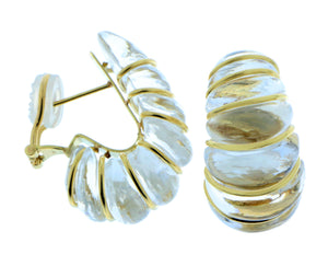 Rock crystal and yellow gold earrings